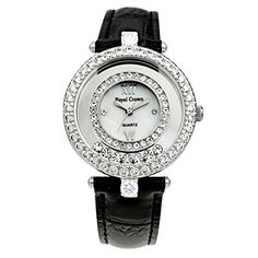 Royal Crown Womens Watches Langii3628l Black Genuine Leather Strap Quartz Mother of Pearl Dial *** Find out more about the great product at the image link. (Note:Amazon affiliate link)