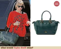 Taylor Swift's green bag at a dance studio in LA. Outfit Details: http://wwtaylorw.com/2913