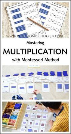 Montessori Multiplication Extension Work Mastering Multiplication tables with Montessori method Montessori Homeschool, Montessori Elementary, Montessori Classroom, Montessori Activities, Elementary Math, Online Homeschooling, Montessori Kindergarten, Physical Activities, Math Multiplication