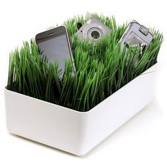Grassy lawn charging station, from ThinkGeek.com