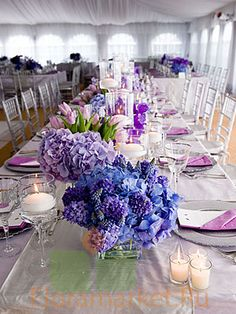In purple! Would make a fabulous spring party setting!