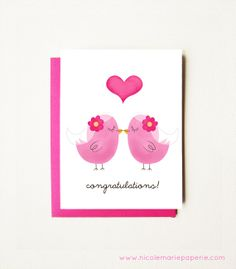 Love Birds  Wedding Card Card.  I Love You by nicolemariepaperie, $4.00
