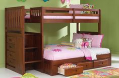 Twin over Full Reversible Stairway Bunk Bed in Merlot with FREE SHIPPING nationwide! http://www.bunkbedkingdom.com/twin-over-full-reversible-stairway-bunk-bed-merlot/