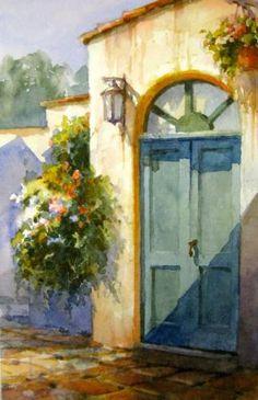EUROPE - Italian Entryway , Watercolor Painting of Italy - Watercolor Paintings by Roland Lee