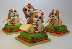 ' Christmas Time, Xmas, Christmas Cakes, Polymer Clay Ornaments, Animal Cakes, Cake Cookies, Cake Toppers, Dog Cat, Kawaii