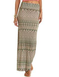 tribal print knit maxi skirt