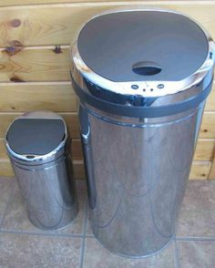 Set of 2 Automatic Trash Bin 13 gallon Kitchen 2.3 Gallon Bathroom Stainless Steel Can by Generic. $79.95. 2.1 gallon Stainless Steel can with removable plastic bucket for easy disposal and cleaning. 13 gallon Stainless Steel Bin with garbage bag ring and rubber to keep the bag hidden from public view for a neat and clean appearance. Infrared motion sensor to open automatically when it senses movement and closes after 3 seconds. Seals odor in and eliminates cross-contam...