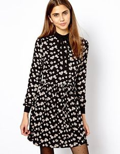River Island Waisted Shirt Dress In Print