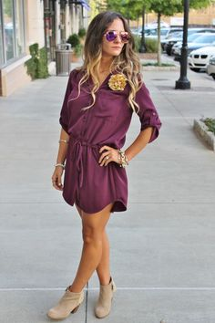 Bedazzles after dark: game day outfit: seminole shirt dress my style. Fall College Outfits, Fall Outfits, Summer Outfits, Cute Outfits, Formal Outfits, Jean Outfits, Work Outfits, Casual Outfits, Purple Dress Shirt