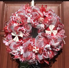 Christmas Wreath  Candy Cane Red White by WhatsOnYourDoor on Etsy