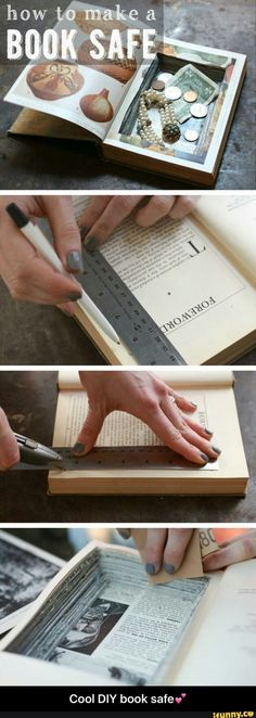 The best DIY projects & DIY ideas and tutorials: sewing, paper craft, DIY. Diy Crafts Ideas Yes! A book safe is such a fun project and adds a whole other level of cool to your bookcase. Keep all your trinkets and valuables out, Diy Projects To Try, Craft Projects, Diy Projects With Books, Craft Ideas, Decor Ideas, Cool Diy, Easy Diy, Fun Crafts, Diy And Crafts