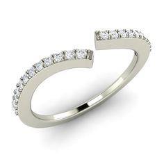 .17 Ct SI Diamond Unique Anniversary Ring / Wedding Band in Solid 14k White Gold - Diamonds & Gemstones