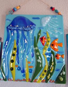 Jellyfish Ocean Fish Beach Fused Glass Plaque by jodysart on Etsy