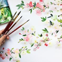 """747 Likes, 21 Comments - Yao Cheng (@yaochengdesign) on Instagram: """"Daydreaming with cherry blossoms...#workinprogress #watercolor #creativezone"""""""