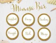 """Mimosa Bar Juice Labels & Sign // Sign 8x10"""" and 11x14"""" // INSTANT DOWNLOAD // Printable // 2"""" circles // Wedding // Bridal Shower // #PBP87"""