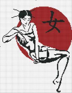 point de croix femme asiatique - cross stitch asian woman