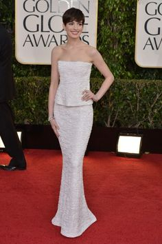 Best Dressed at the 2013 Golden Globe Awards - Anne Hathaway / Photo by George Pimentel. Chanel is eternal, as is the Audrey Hepburn vibe.