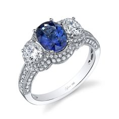 Oval cut three-stone engagement ring with a beautiful sapphire in the center - Sylvie Vintage Collection