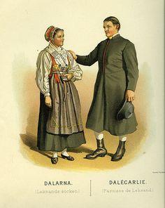 Folkdräkt från Leksands socken, Dalarna, Sverige.  Date1895  SourceThulstrup & Kramer, Afbildningar af Nordiska Drägter (1895)