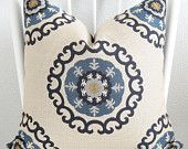 Decorative pillow cover - Throw pillow - Suzani pillow - 20x20 - Cream - Blue - Dark blue - Suzani - Designer fabric