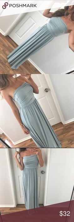| boutique | maxi dress NWOT Beautiful seafoam green maxi dress. Strapless. Amazing fit!!! Originally purchased from Allie @mrsalliexo photo credit to her for first 4 photos. New without tags. 95% rayon modal 5% spandex Boutique Dresses Maxi