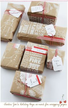 Upcycled Christmas wrapping using grocery bags from Trader Joe's...love their holiday bags!