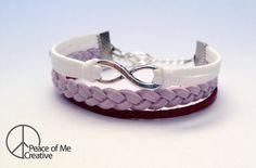Simple Infinity Bracelet in Lavender & Maroon {dove charm}