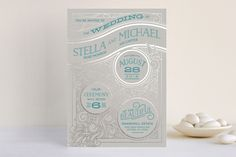 Antique Lines Foil-Pressed Wedding Invitations by GeekInk Design at minted.com