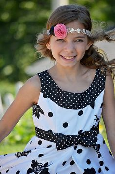 Pink Black Flower Rhinestone Headband by KennasKlippiesBows, $13.00