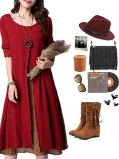 7600778b80 Gracila Vintage Long Sleeve Fake Two Pieces Cotton Literary Dress Goa
