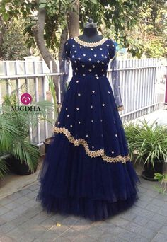 Mugdha bought back your favourite long gowns for this new year. Beautiful royal blue color long gown with hand embroidery work. They can customise the colour and size as per your requirement.To Order : whatsapp 9010906544 . Gown Party Wear, Party Wear Indian Dresses, Indian Wedding Gowns, Indian Gowns Dresses, Pakistani Dresses, Indian Long Gowns, Prom Dresses, Long Dress Design, Stylish Dress Designs