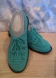 Купить Мокасины хлопковые - бирюзовый, летние мокасины, вязаная обувь, обувь ручной работы