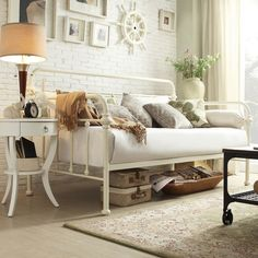 INSPIRE Q Giselle Antique White Graceful Lines Iron Metal Daybed | Overstock.com Shopping - The Best Deals on Beds