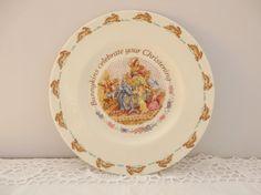 Bunnykins vintage 1993 christening plate,Royal Doulton, Bunnykins plate, Nursery gift, Baby Shower gift,Bunnykins gift,Christening china
