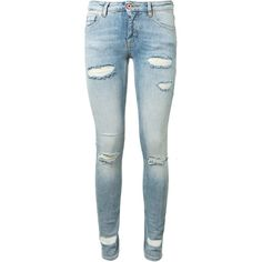 Off White Used Effect Skinny Jeans ($425) ❤ liked on Polyvore featuring jeans, pants, stripe jeans, striped jeans, denim skinny jeans, cut skinny jeans and 5 pocket jeans