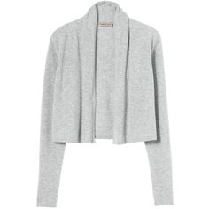 Rebecca Taylor Camille Cardigan featuring polyvore, fashion, clothing, tops, cardigans, heather grey, cashmere open cardigan, petite dressy tops, fancy tops, petite cardigan and layering cardigans