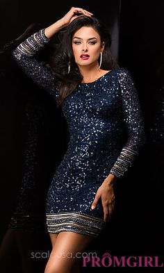 Long Sleeve Short Sequin Cocktail Dress by Scala at PromGirl.com