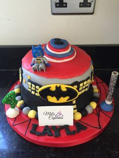 Superhero cake for Layla's birthday! #birthdaycake #baker #creative #melscupcakes #fun #batman #superman #beginner #birthday