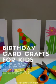How to: 3 easy birthday card crafts to do with toddlers Flower Birthday Cards, Simple Birthday Cards, Homemade Birthday Cards, Birthday Card Design, Kids Birthday Cards, Birthday Crafts, Birthday Cake, Bday Cards, Homemade Cards