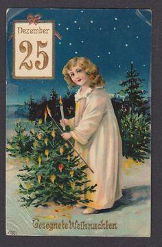 Postkarte Weihnachten   - Mädchen Engel Weihnachtsbaum - gel.1910 n. Zittau