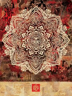 ☯☮ॐ American Hippie Psychedelic Art ~ Red Mandala - OBEY Shepard Fairey street artist . . revolution OBEY style, street graffiti, illustration and design posters.