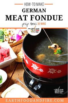 Enjoy a unique experience in your Christmas dinner meal with this holiday recipe! A simple meal perfect for dinner parties, meat fondue is easy to prepare ahead of time and so much fun to eat with friends! |how to make german meat fondue| holiday dinner recipe | Christmas dinner recipe Fondue Recipes, Snack Recipes, How To Make Salad, Food To Make, German Meat, Healthy Breakfast Recipes, Healthy Recipes, Traditional German Food, Fondue Party