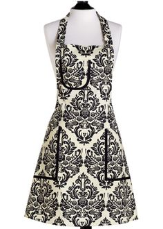 Jessie Steele Cream And Black Damask Bib Chef's Apron - Beyond the Rack Sewing Tutorials, Sewing Hacks, Sewing Crafts, Sewing Patterns, Apron Patterns, Sewing Projects, Apron Pattern Free, Club Couture, Diy Couture