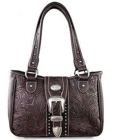 Montana West® Floral Tooled Leather, Western Shoulder Tote - Coffee