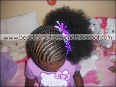 cornrows into a side puff... great step by step tutorial