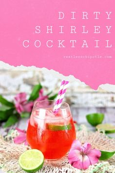 This easy cocktail recipe is a grown up version of your favorite Shirley Temple drink from when you were a kid. Sparkly and sweet with tangy lime flavor. Refreshing Cocktails, Easy Cocktails, Cocktail Recipes, Drinks, Easy Brunch Recipes, Party Recipes, Appetizer Recipes, Dirty Shirley Recipe, Shirley Temple Drink