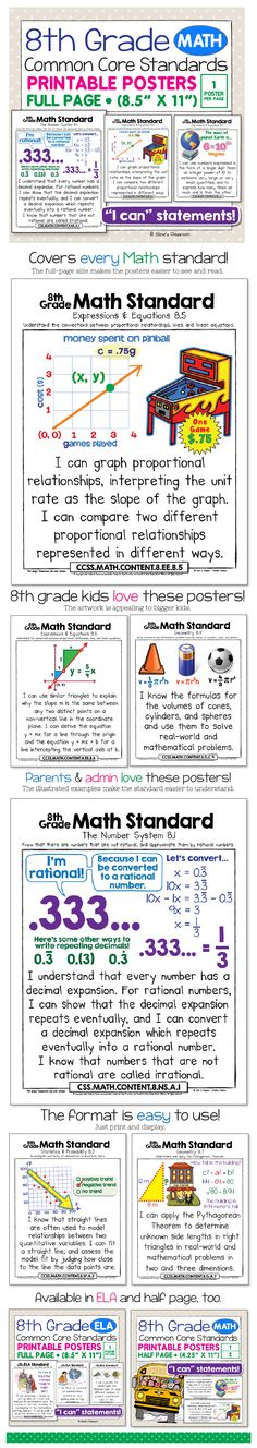"These posters for the 8th grade math Common Core Standards bring the standard to life and make it easier to understand with age-appropriate illustrations and kid-friendly ""I can"" language. Big, colorful, age-appropriate posters for the eighth grade math common core!"