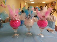 Disney princess centerpieces made from dollar tree items, feather from a boa, and some feathers.I'd put candy inside. Princess Birthday Centerpieces, Disney Princess Birthday Party, Cinderella Birthday, Girl Birthday, Birthday Parties, Birthday Crowns, Birthday Ideas, Princesse Party, Girls Party Decorations
