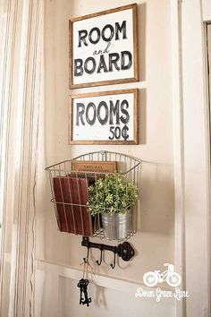 Handpainted SIgn Room and Board Rooms 50 Cents by DownGraceLane
