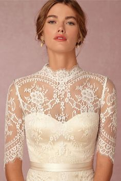 vintage wedding dress bodice with lace sleeves and high neckline